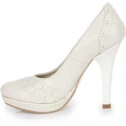 Pantofi crem cu toc inalt din piele naturala model PP-8733
