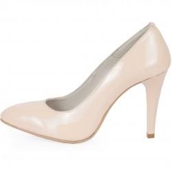 Pantofi stiletto bej din piele lacuita model PP-0732
