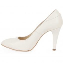 Pantofi stiletto crem din piele naturala model PP-1440