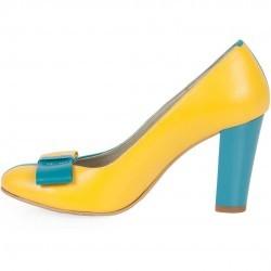 Pantofi turquoise cu galben cu toc inalt din piele naturala model PP-1656