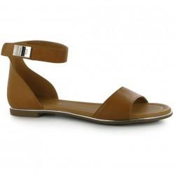 Sandale din piele ecologica de culoare maro-deschis, cu accente argintii-Miso