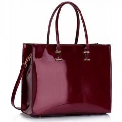 Geanta tote Burgundy Patent Fashion