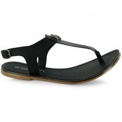 Sandale plate din piele naturala, de culoare alba-Kangol