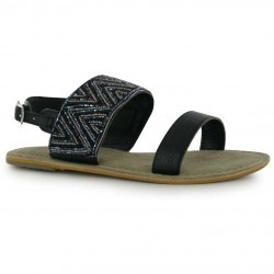 Sandale sic, de culoare neagra, cu margelute delicate si bar