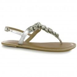 Sandale sic, argintii, cu strasuri-Miso