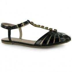 Sandale de culoare neagra, cu aspect lacuit si cristale decorative-Miso