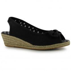 Sandale negre, cu toc ortopedic mediu si funda-Miss Fiori