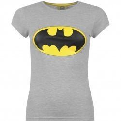 Tricou dama original din bumbac, gri, cu logo pe piept-DC Comics